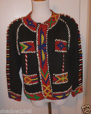 NWT MICHAEL SIMON Black Beaded Southwestern Tribal Button Up Sweater Size 1