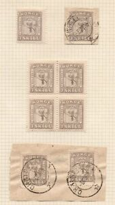 1863 NORWAY SC# 7, 3s BLOCK OF 4 MINT + USED STAMPS LOT, RARITY !!