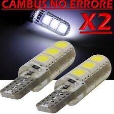 2 Led T10 Lampade Gel Silica 6 SMD  No Errore Canbus BIANCO Xenon Lampadine W5W