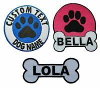 Personalised Dog Name Embroidered Patches Iron On Pet Badge Dog Harness Patch