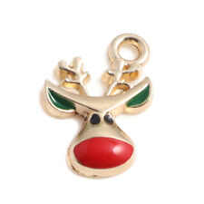 5 Red Nose Reindeer Charm Pendant Enamel Gold Plated 18 x 19mm