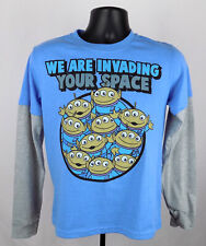 Toy Story Shirt Boy's XL Blue Aliens Invading Space Long Sleeve Shirt New ST93