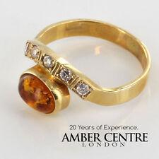 prodotto in Italia Elegante Ambra Baltica Anello in puro 14ct gold-gr0501