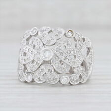 0.35ctw Diamond Cocktail Ring 14k White Gold Size 7.25 Pave Knot Work