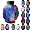 Unisex Galaxy Space 3D Print Sweatshirts Hooded Pullover Jumper Coat Outwear 3XL