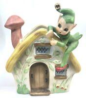Vintage Josefs Originals Elf Pixie on House Planter Beautiful