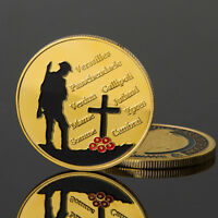 Gold Plated 1914-1918 The Great War Versailles Passchendaele Commemorative Co ZX