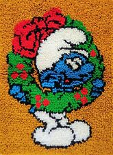Smurf Smurfs Christmas Wreath Latch Hook Rug Wall Hanging Pillow Cover Finished