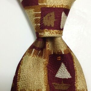 ERMENEGILDO ZEGNA Men's 100% Silk Necktie ITALY Luxury SAILBOATS Yellow/Red GUC
