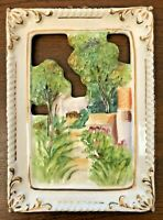 Vintage Ucagco 3D Relief Ceramic Wall Hanging Plaque Country Scene Japan