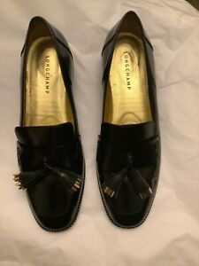 GREAT CONDITION! Longchamp Black Leather Tasseled Loafers - 41