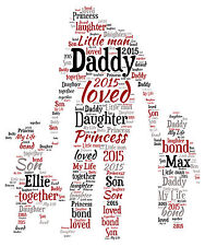 Personalised Word Art Daddy Dad Son Daughter Print Gift Christmas
