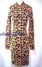 NWT  VINTAGE SEXY CURVE  AZZEDINE ALAIA wool blend  LEOPARD MAXI DRESS-SMALL