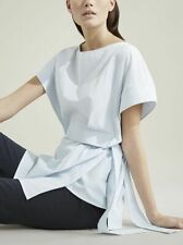 COS minimal seersucker blue & white stripe kimono top with belt 12