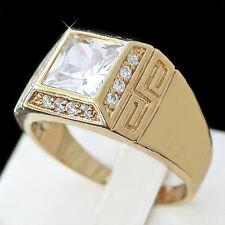 Men's GREEK KEY 4.12ct Simulated Diamond 14k GOLD Layered Ring + LIFETIME GUAR