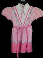 RARE CINDERELLA BRAND VINTAGE 1940'S PINK COTTON FLORAL PRINT GIRLS DRESS SZ 2-3