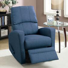 Comfort Swivel Rocking Rocker Recliner Lounger Chair Upholstered Plush Seat Navy