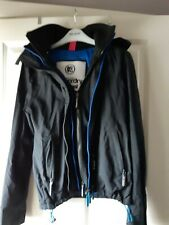 Superdry Womens Tech Hooded Pop Zip Sd-Windcheater Jacket - Small- Black/Blue