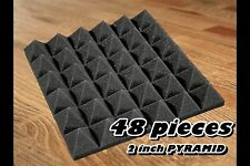48 pack GREY Acoustic Pyramid Sound Recording Studio Foam Wall Tile12x12x2 inch