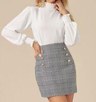 Shirred Frill Mock Neck Long Sleeve Elegant Blouse Top Casual Work