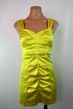 Cache Yellow Bodycon Ruched Wiggle Pencil Dress Party Evening Sz 8 USA MADE