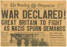 War Declared Germany Hitler Spurns Demands Silesia Poland September 3 1939 B11