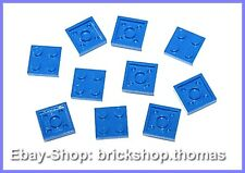 Lego 10 x Platten blau 2x2 - 3022 - Plate Blue - NEU / NEW