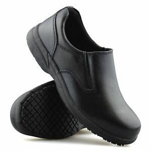 Mens Leather Slip On Wide Fit Memory Foam Casual Smart Walking Work Shoes Size