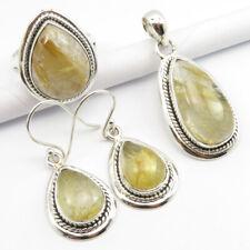 Free Gift Box 925 Silver Genuine Golden Rutile Pendant Earrings Ring #9.25 Set