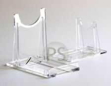 """Sliding Twist Display Stand : Clear Plastic 2"""" to 4""""  Plate, Photo, Print, Bowl"""
