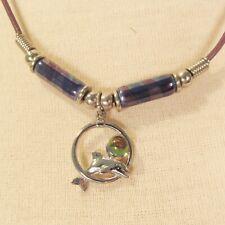 "24"" Lucky Dolphin Mixed Bead Silver Tone Handmade Necklace"