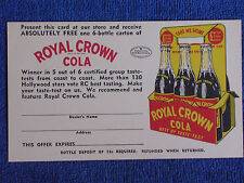 Pepaid Penny Advertising Postcard Coupon for a Free 6 Pack of Royal Crown Cola
