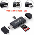 OTG SD Card Reader 3in1 Type C/Micro USB/Lighning/USB Adapter Micro SD TF Flash