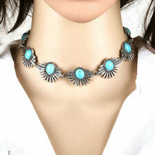 Vintage Women Turquoise Bead Silver Collar Choker Statement Necklace Bohemian