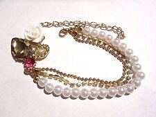 ROMANTIC CHIC CLUSTER BRACELET multi-strand faux pearl gold rhinestone retro O6