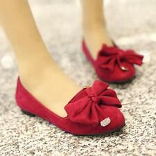 Sweet Womens ladies Slip On bowknot flat heel Boats Party ballet pumps shoes New