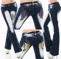 Damen Hüft Jeans BootCut Schlag Hose CRAZY AGE Stickerei Tattoo Schmetterling