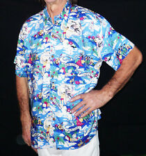 Loud Hawaiian shirt, blue palms/guitars surfers,XS, 44""