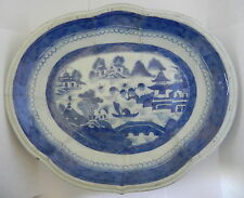 Antique Chinese Export Canton Pattern Platter 18th C. 10 1/4 x 8 1/2 x 1 1/2 In