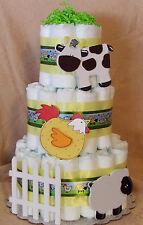 3 Tier Diaper Cake Barnyard Bash Farm Cow & Chicken Baby Shower Centerpiece