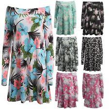 Plus Size Boat Neck Floral Knee Length Dresses for Women