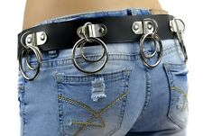 Double O Ring Leather Belt w/ Hinged D-Rings Goth Rockabilly Punk Alternative S
