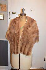 vintage light brown mink fur stole wrap s/m