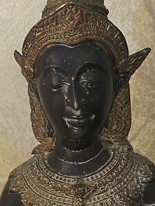 Antique Thai Hindu black bronze Buddha