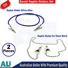 Napkin Holder Metal Ball Chain Bib Clip & Silicon Napkin Holder Blue Set Of 2 CE