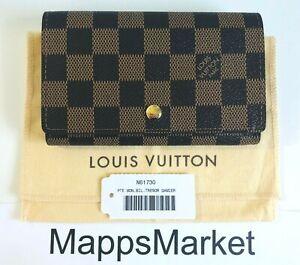 NWT Authentic LOUIS VUITTON Petite Monnaie Billets Tresor Damier Wallet N61730