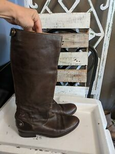 Women's FRYE Melissa Button Back Zip Tall Brown Leather Riding Boots 76430 9 B