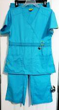 WonderWink Teal Scrub Set Top Sz S Pants Sz M Distressed Short Sleeve V Neck