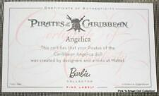 Disney Angelica Pirates Barbie Basics Muse Doll CERTIFICATE OF AUTHENTICITY..COA