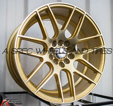 17X9 F1R F18 WHEEL 5x100/114.3 +25MM MACHINE GOLD RIM FITS HONDA ACCORD CIVIC